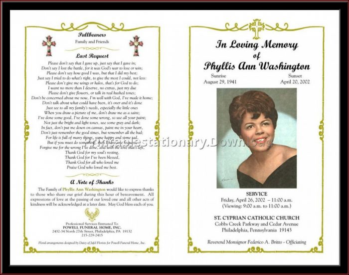 Obituary Program Template Word