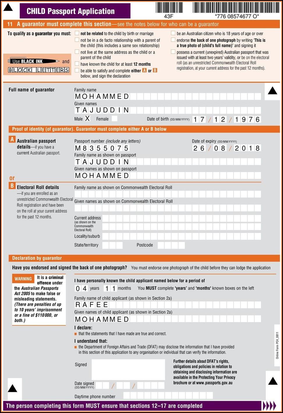 Online Form To Renew Australian Passport