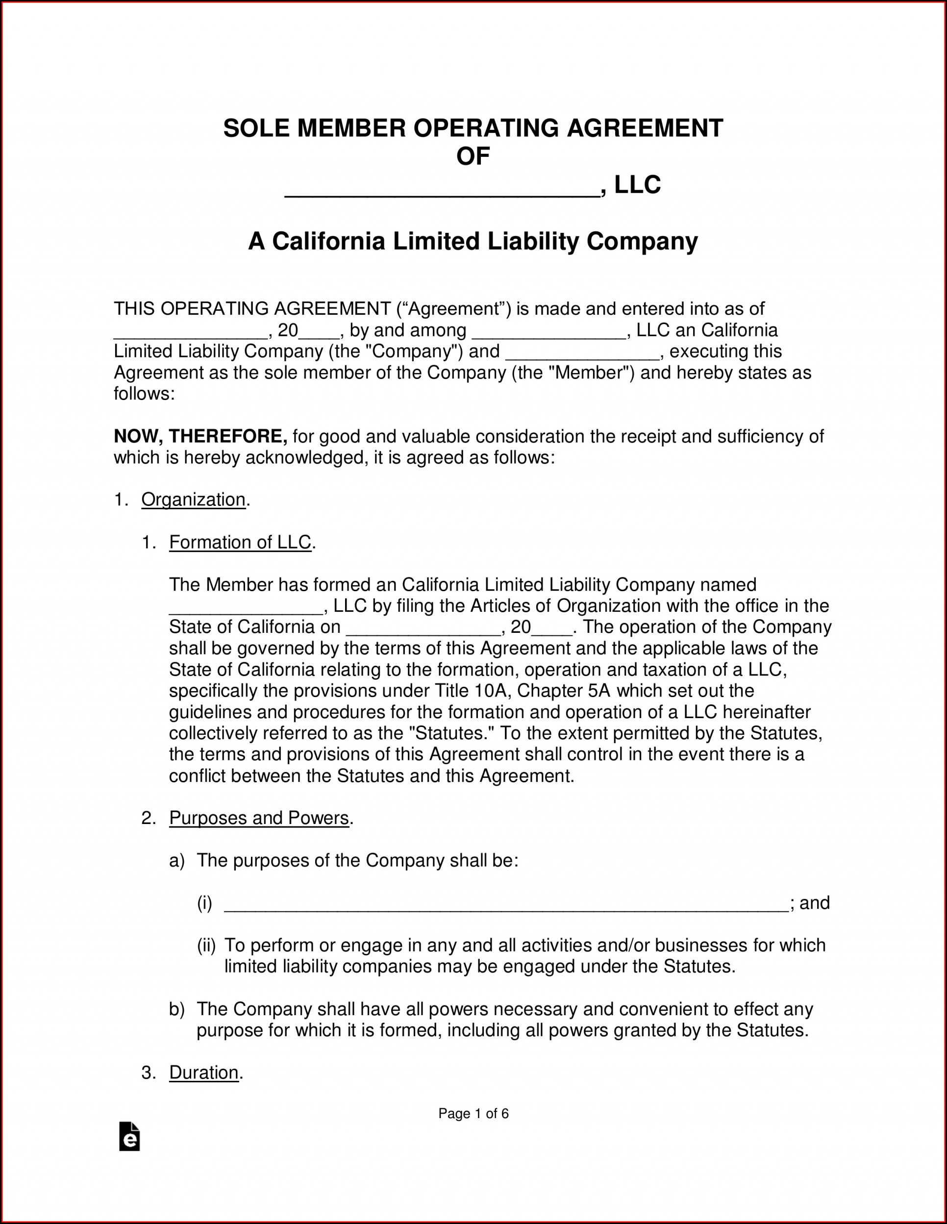 Operating Agreement Llc California Template