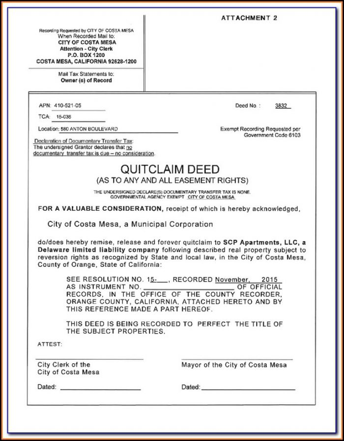 Orange County California Quit Claim Deed Form