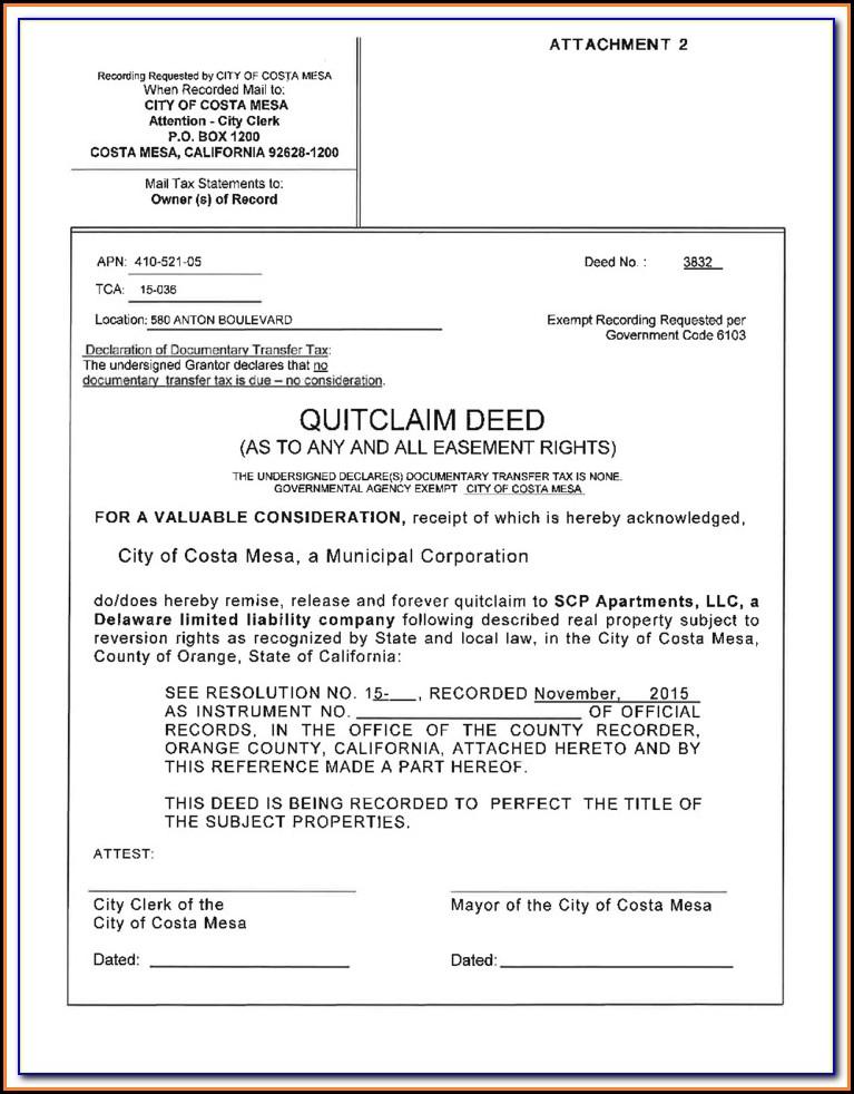 Orange County California Quit Claim Deed Form