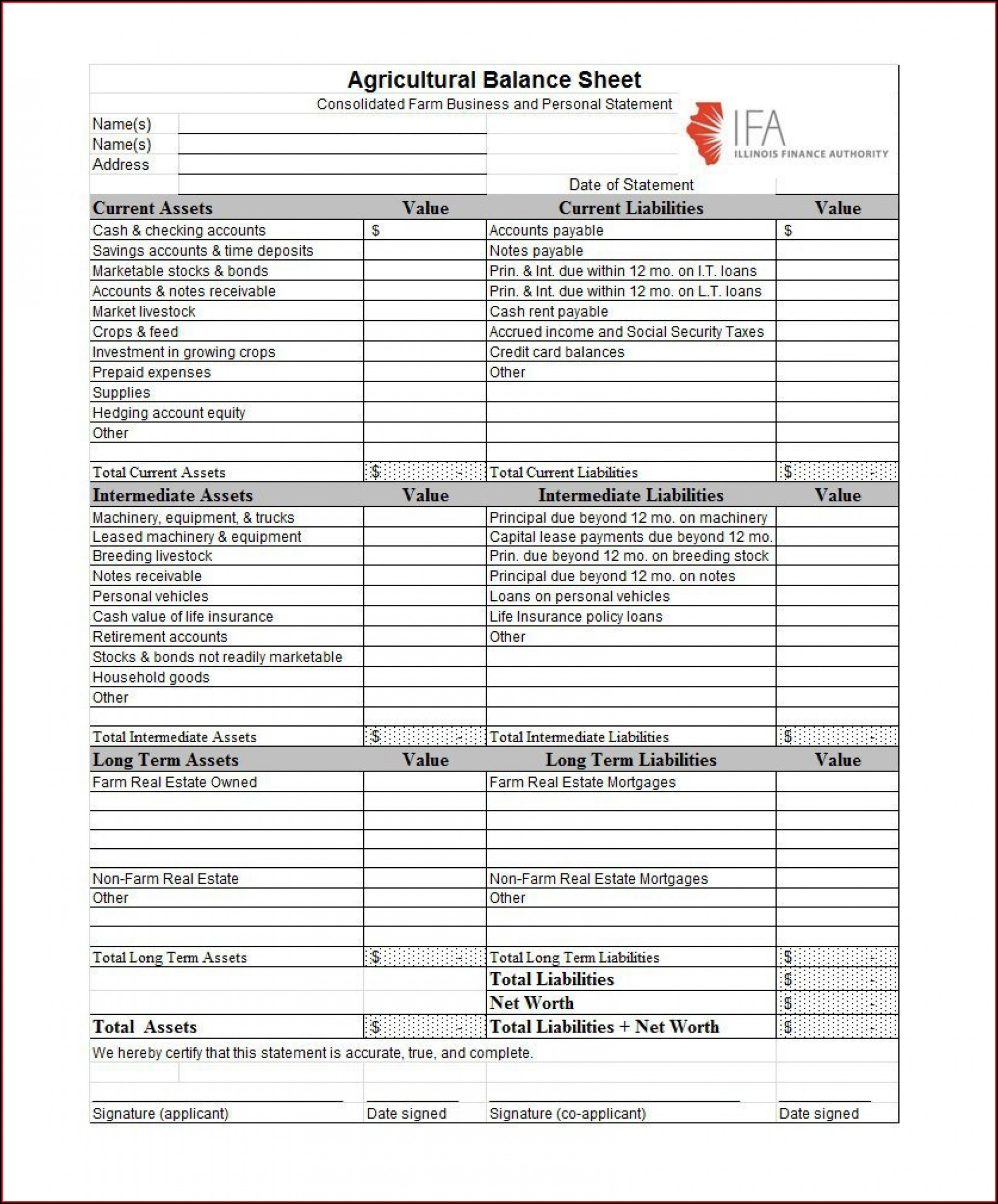 Personal Balance Sheet Template Excel Free Download