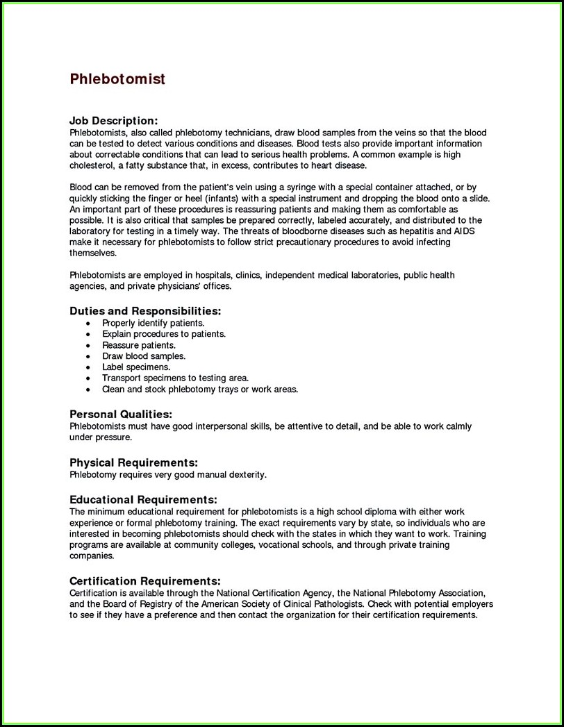 Phlebotomist Resume Sample Free