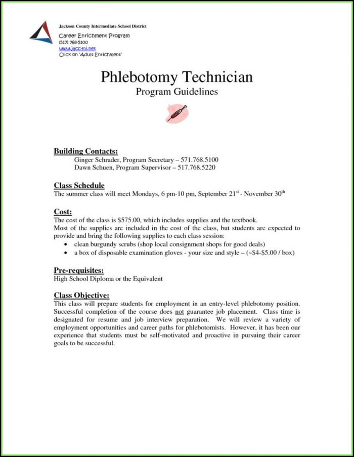 Phlebotomist Resume Templates