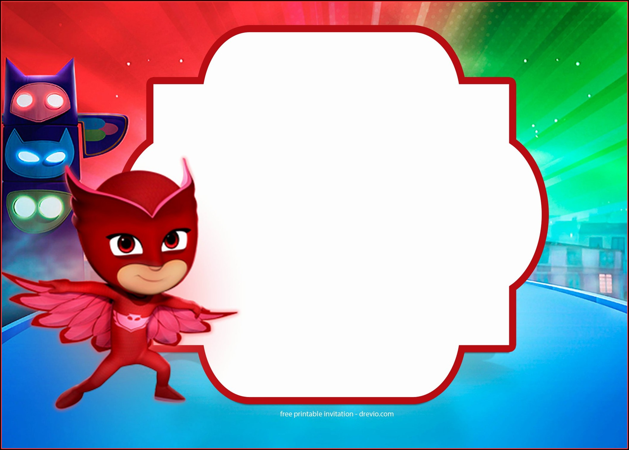 Pj Mask Birthday Invitation Template Free