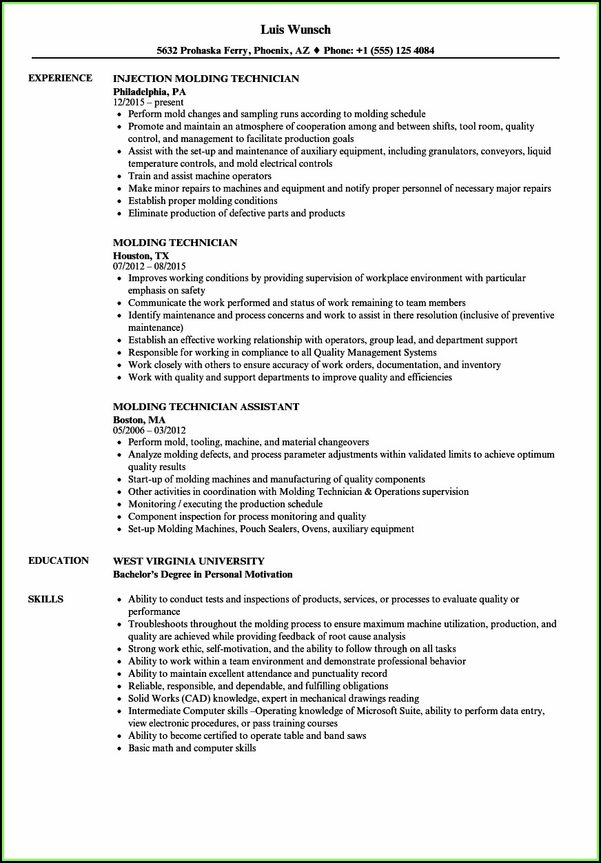 Plastic Injection Molding Process Engineer Resume