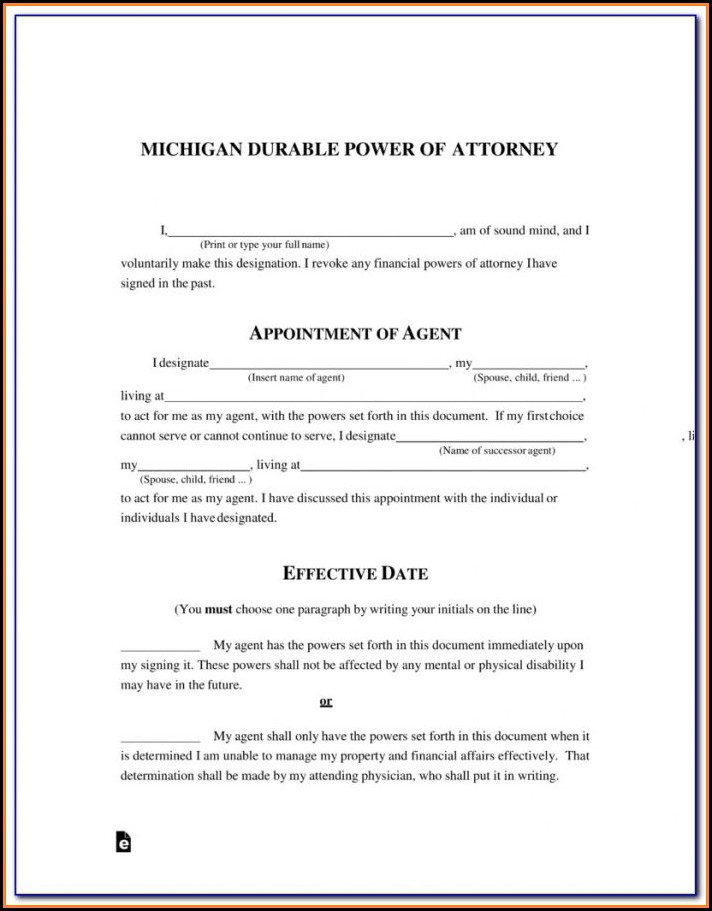 Power Of Attorney Form Michigan Guardianship