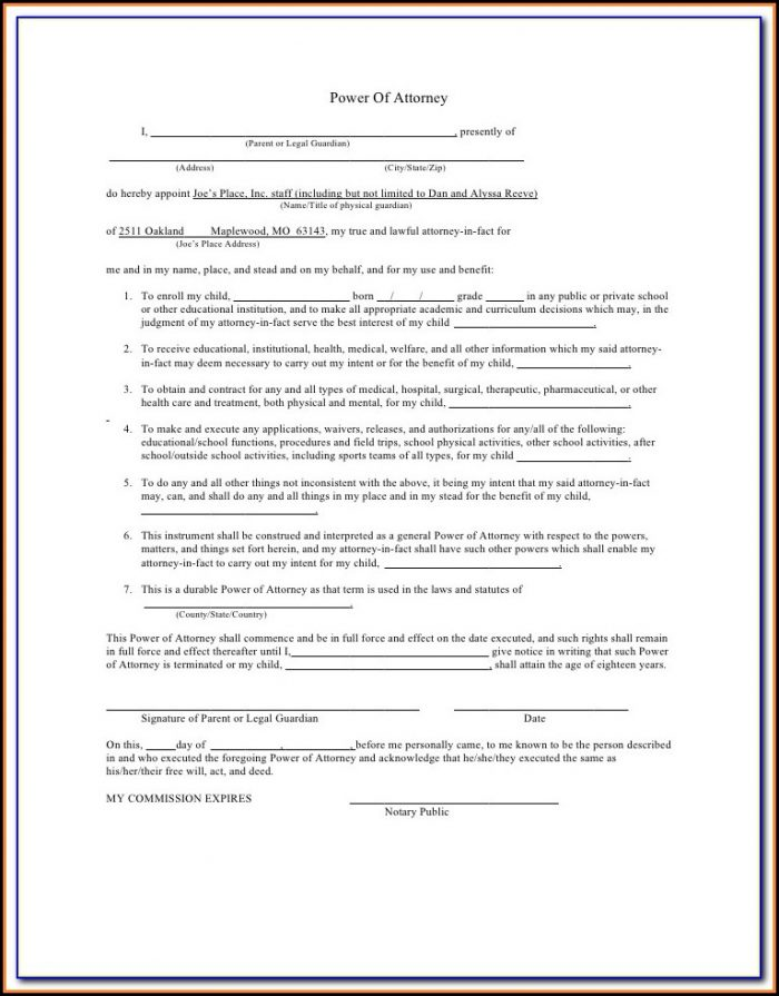 Power Of Attorney Guardianship Form Texas