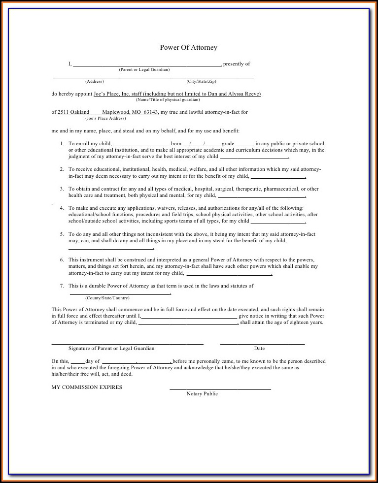 Power Of Attorney Guardianship Form Texas