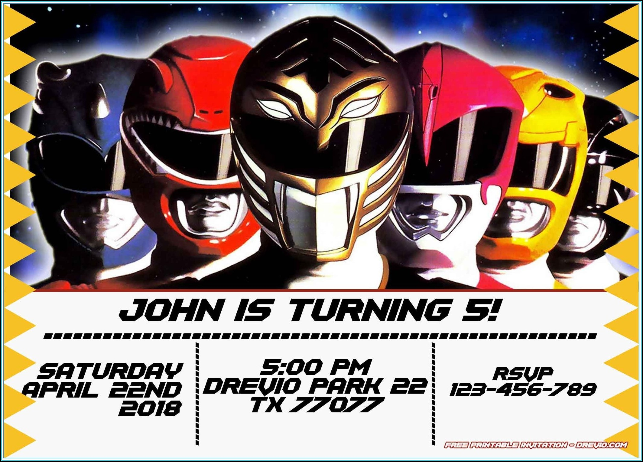 Power Ranger Party Invitation Template