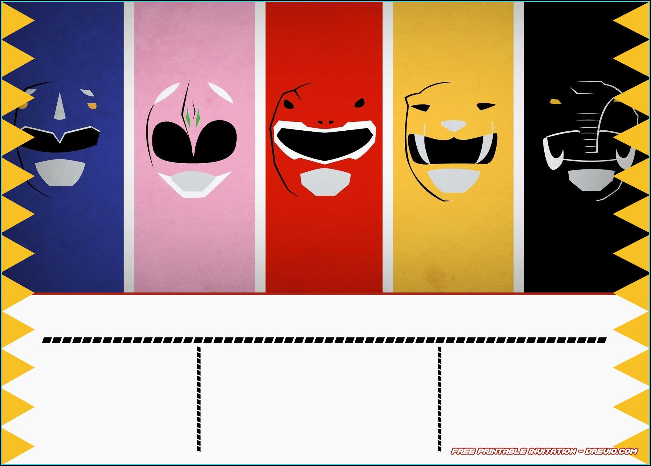 Power Rangers Birthday Invitations Template