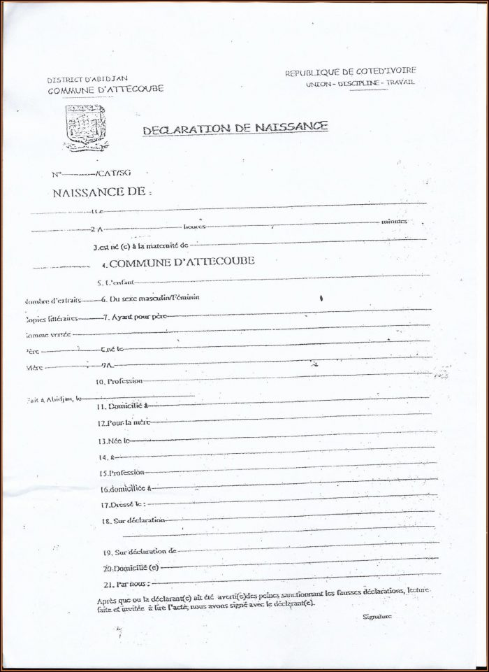 Printable Birth Certificate Form Pa
