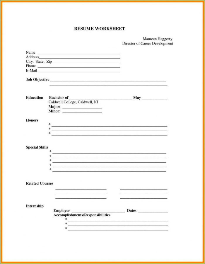 Printable Blank Resume Template Free