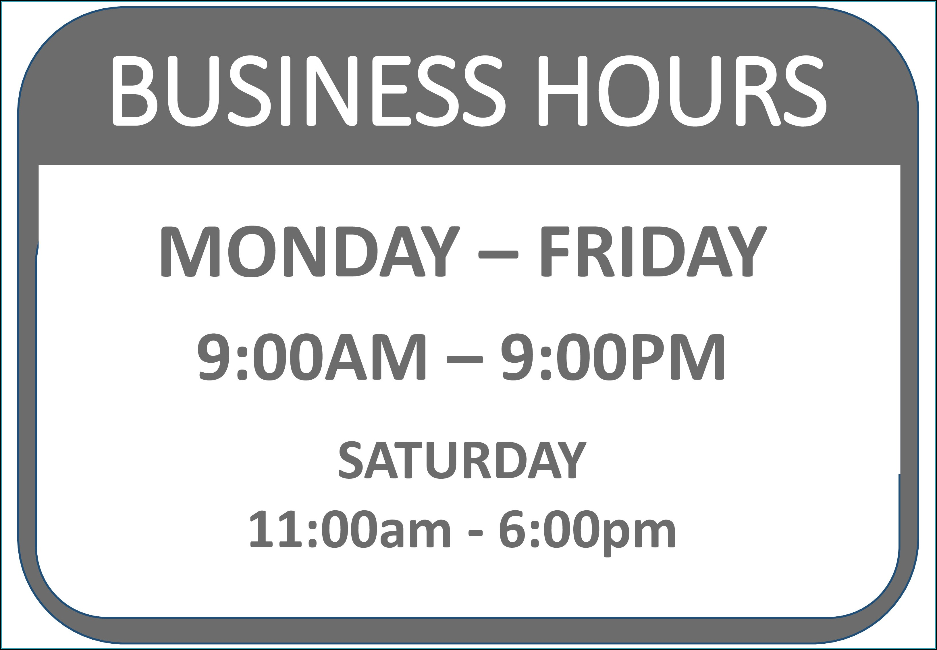 Printable Business Hours Sign Template