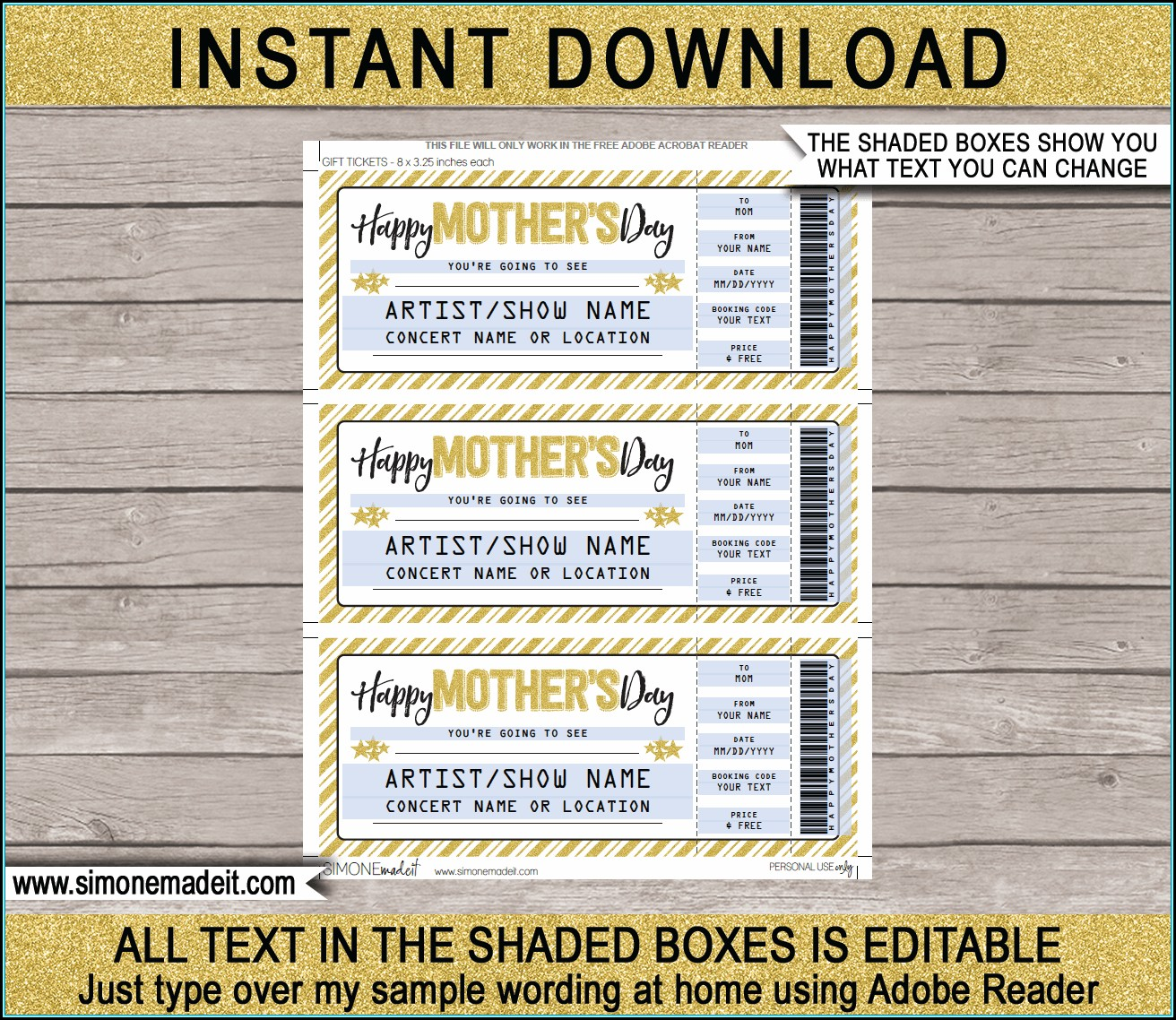 Printable Gift Certificate Template Mother's Day