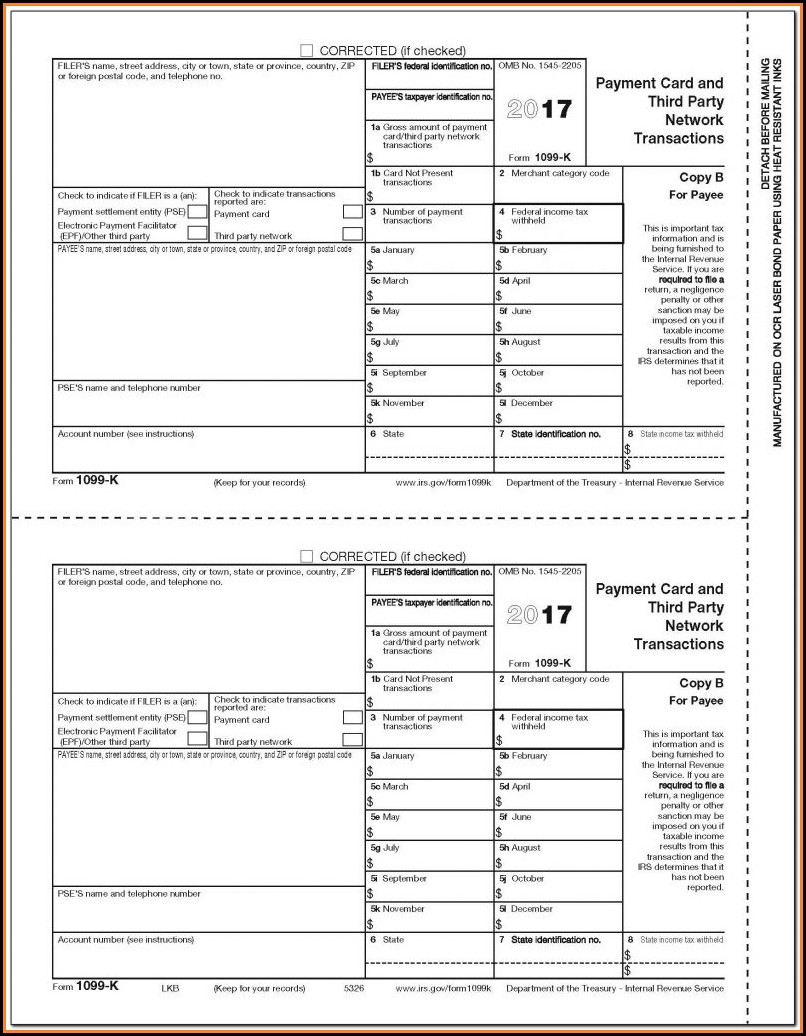 Printable Irs Form 1099 Misc 2018