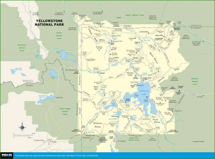 Printable Maps Of Yellowstone National Park