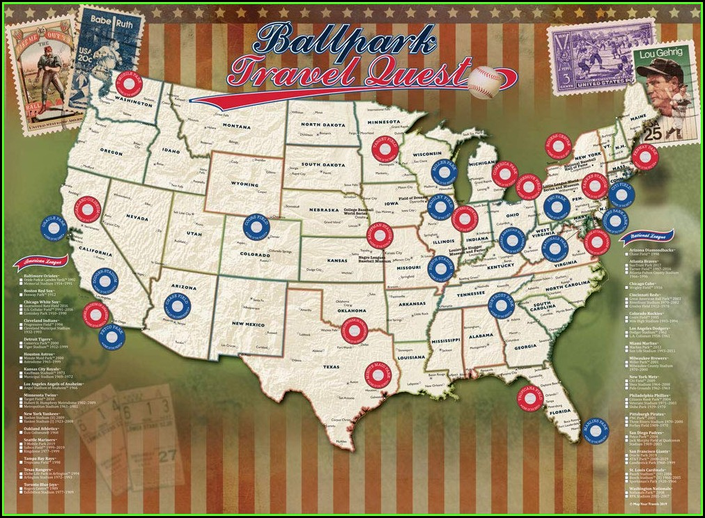 Printable Mlb Stadium Travel Map