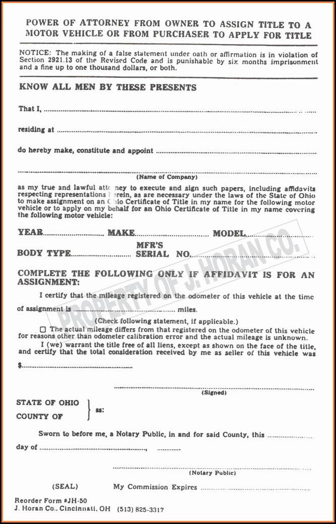 Printable Power Of Attorney Form Florida