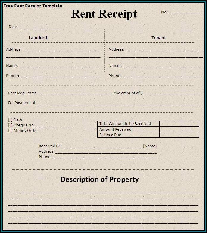 Printable Rent Receipt Template
