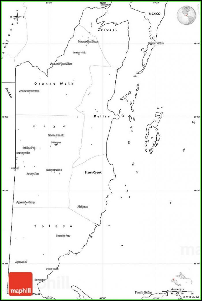 Printable Road Map Of Belize