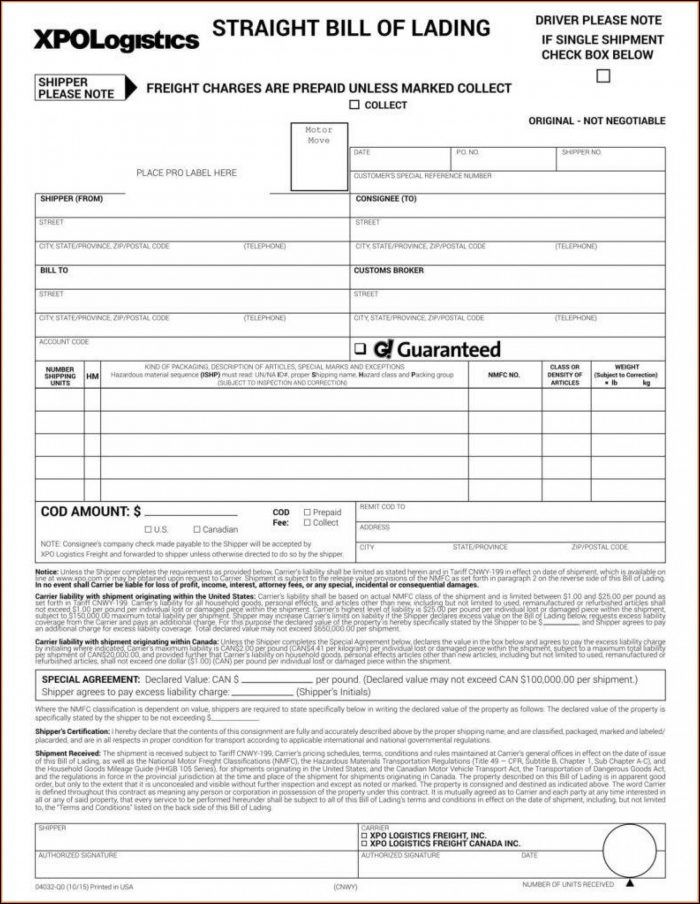 Printable Straight Bill Of Lading Form