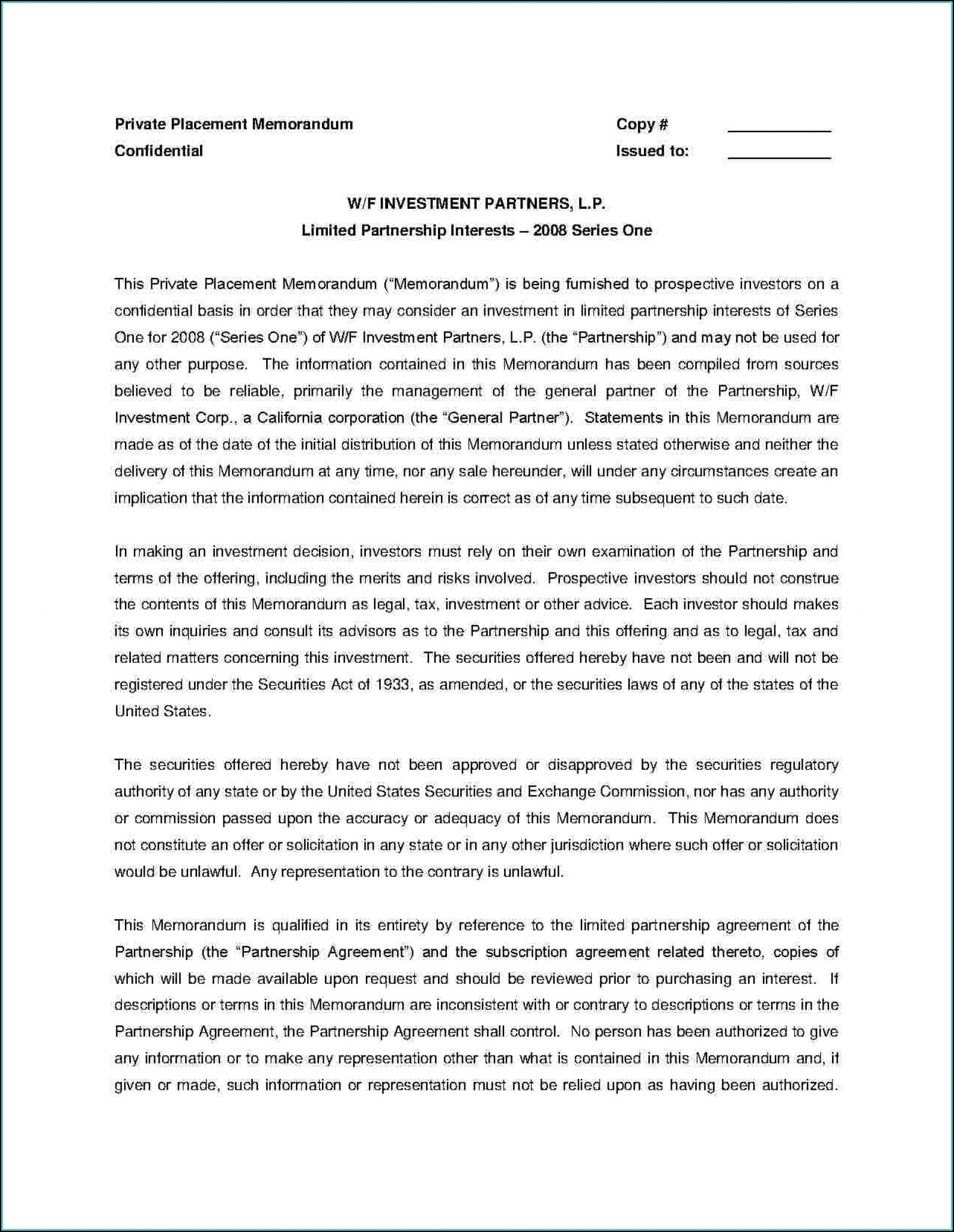 Private Placement Memorandum Template Doc
