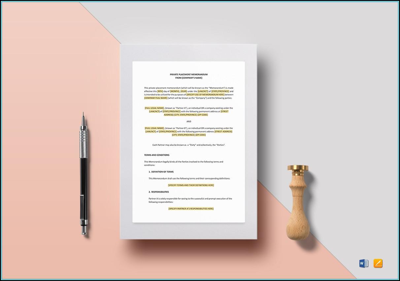Private Placement Memorandum Template Word