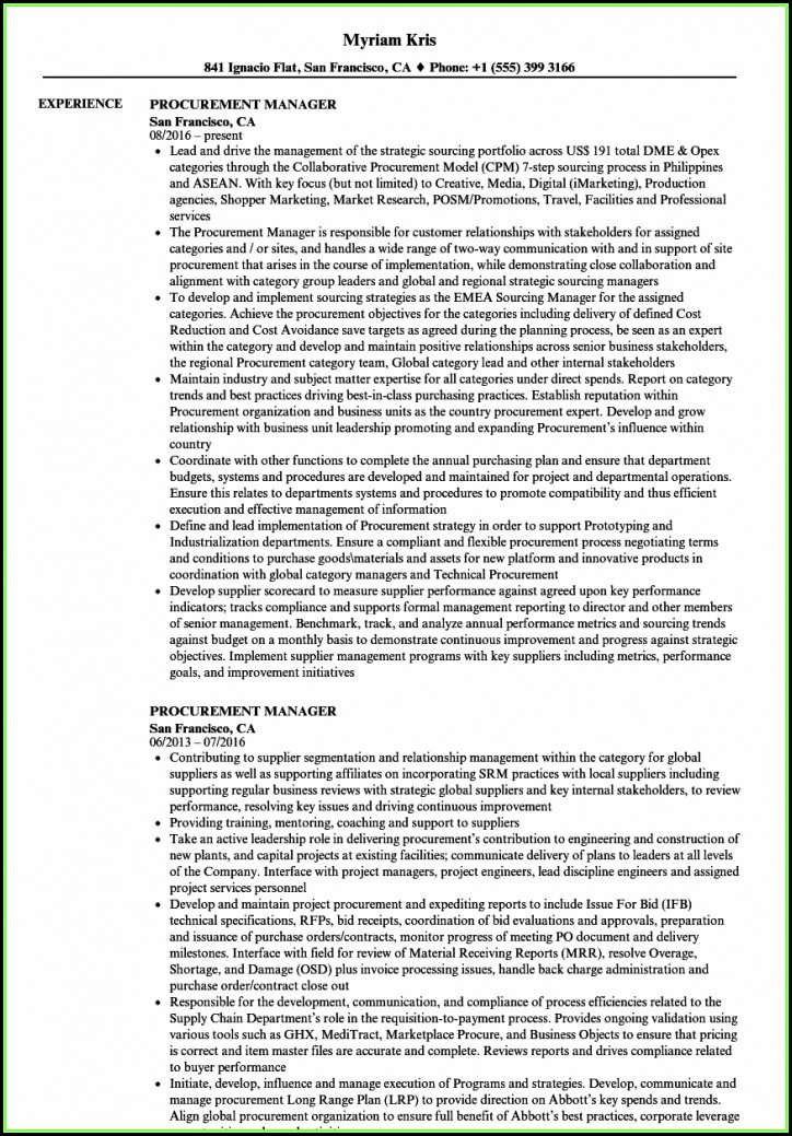 Purchase Manager Resume Samples