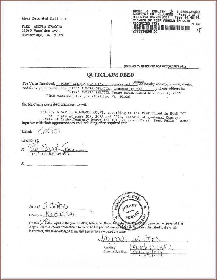 Quick Deed Claim Form