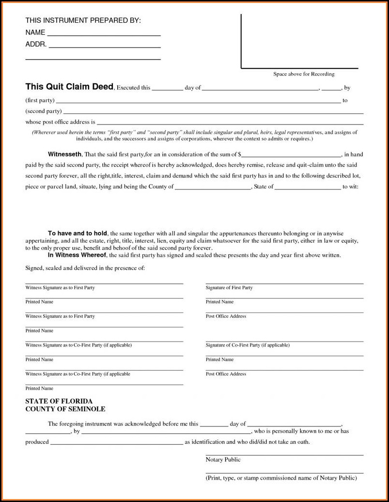 Quick Deed Claim Form Florida