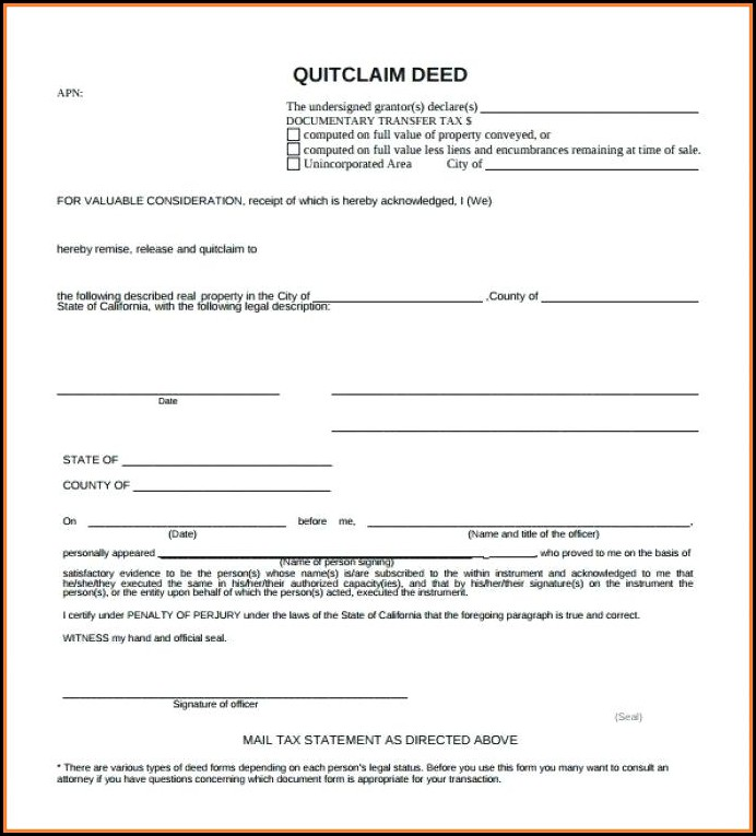 Quick Deed Claim Form Texas