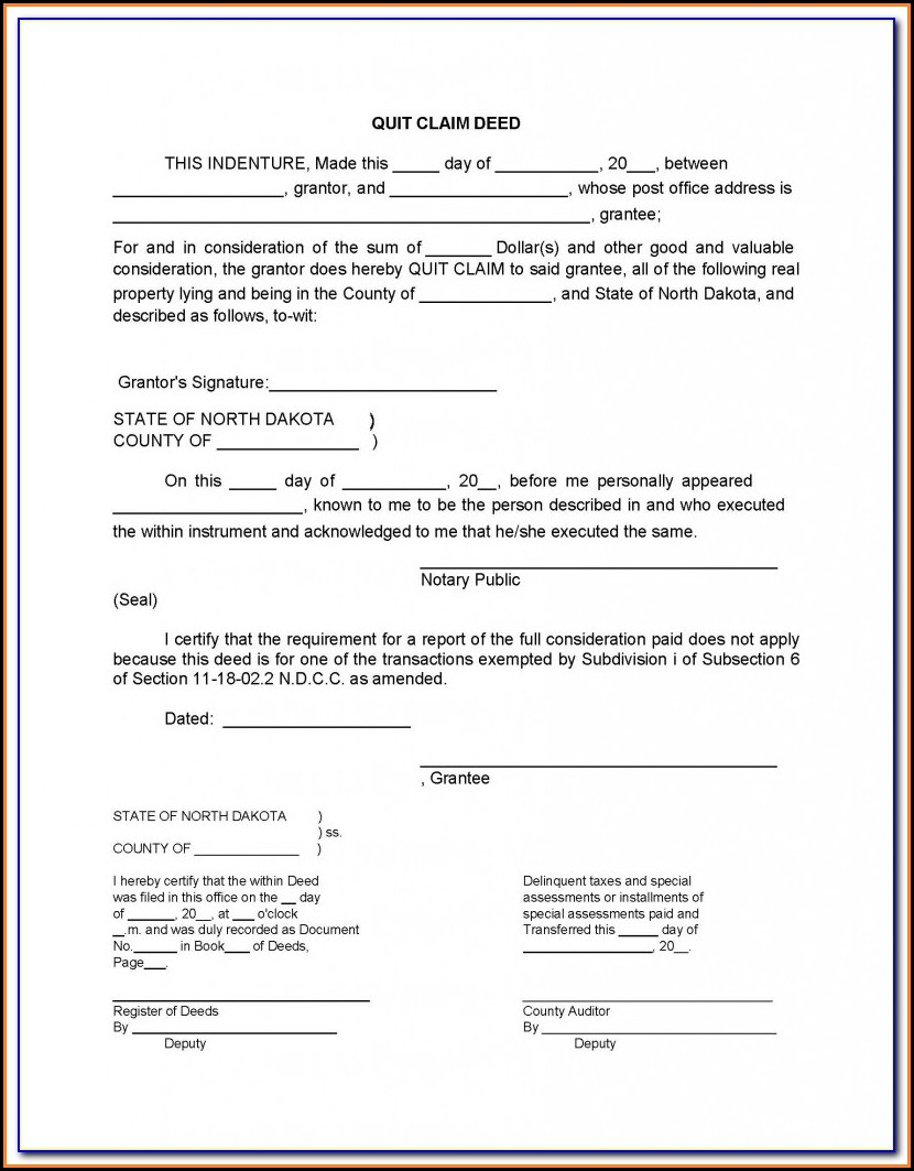 Quit Claim Deed Florida Form Free