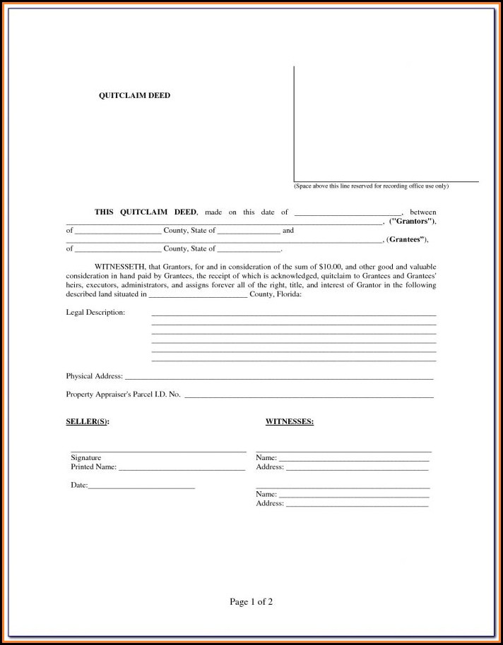 Quit Claim Deed Florida Form