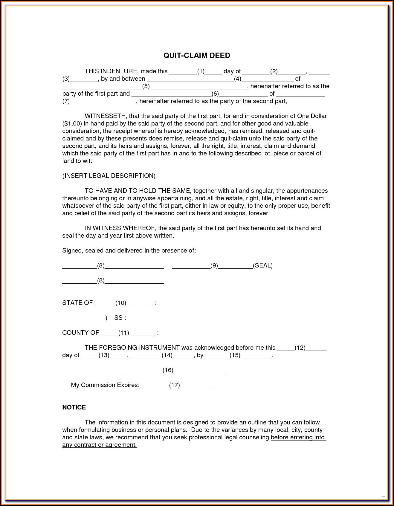 Quit Claim Deed Form Orange County Florida