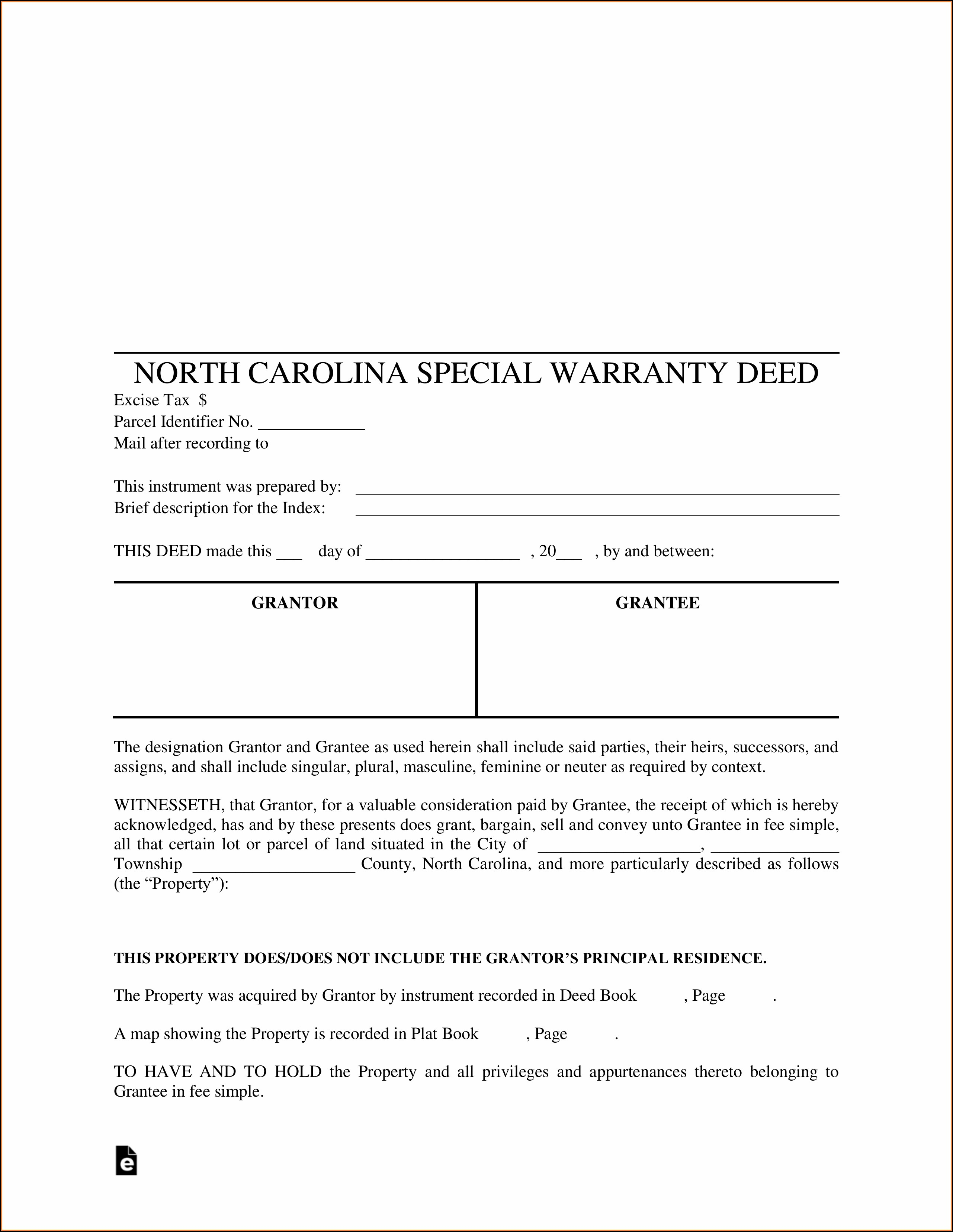 Quit Claim Deed Form Wake County Nc