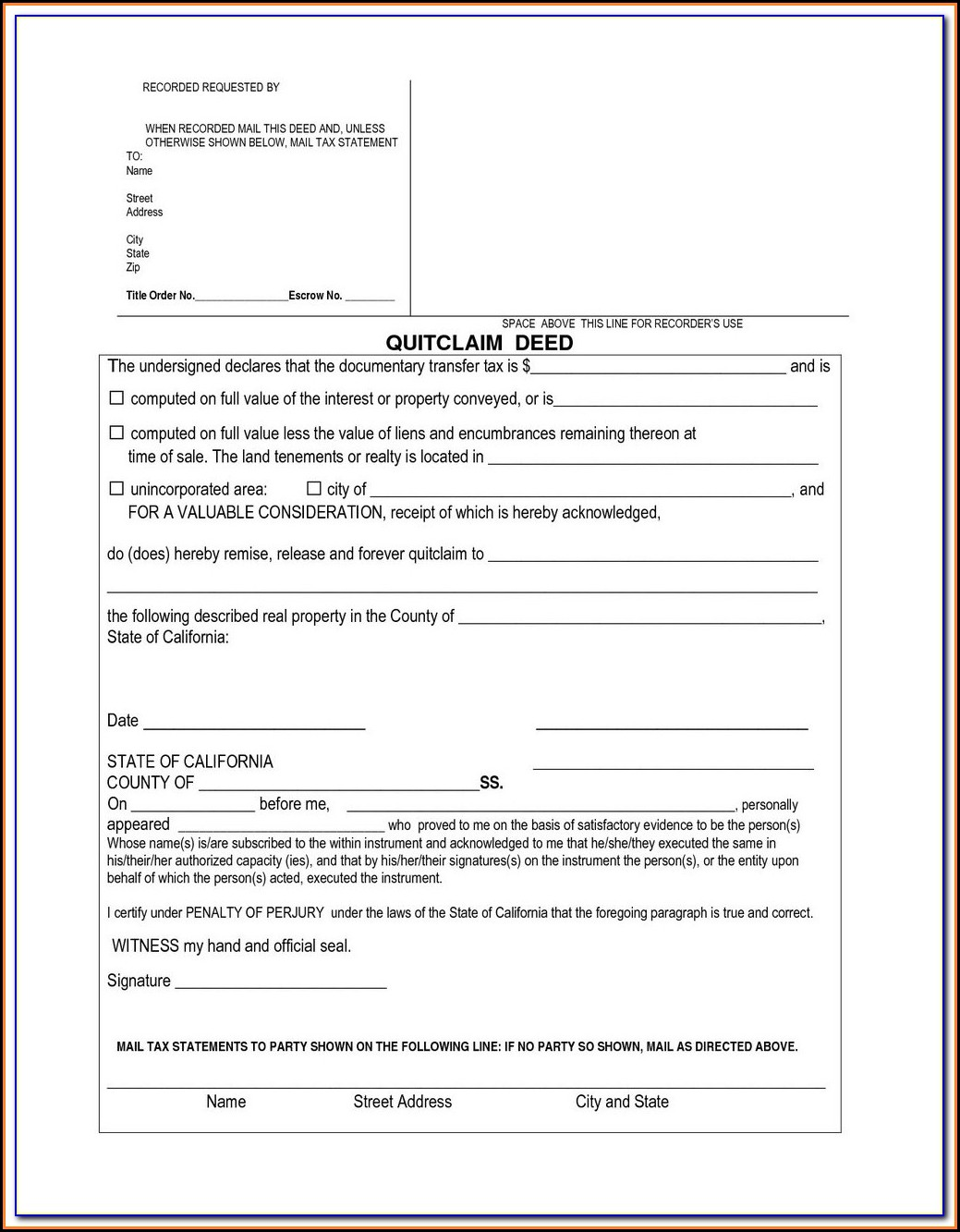 Quit Deed Claim Form California