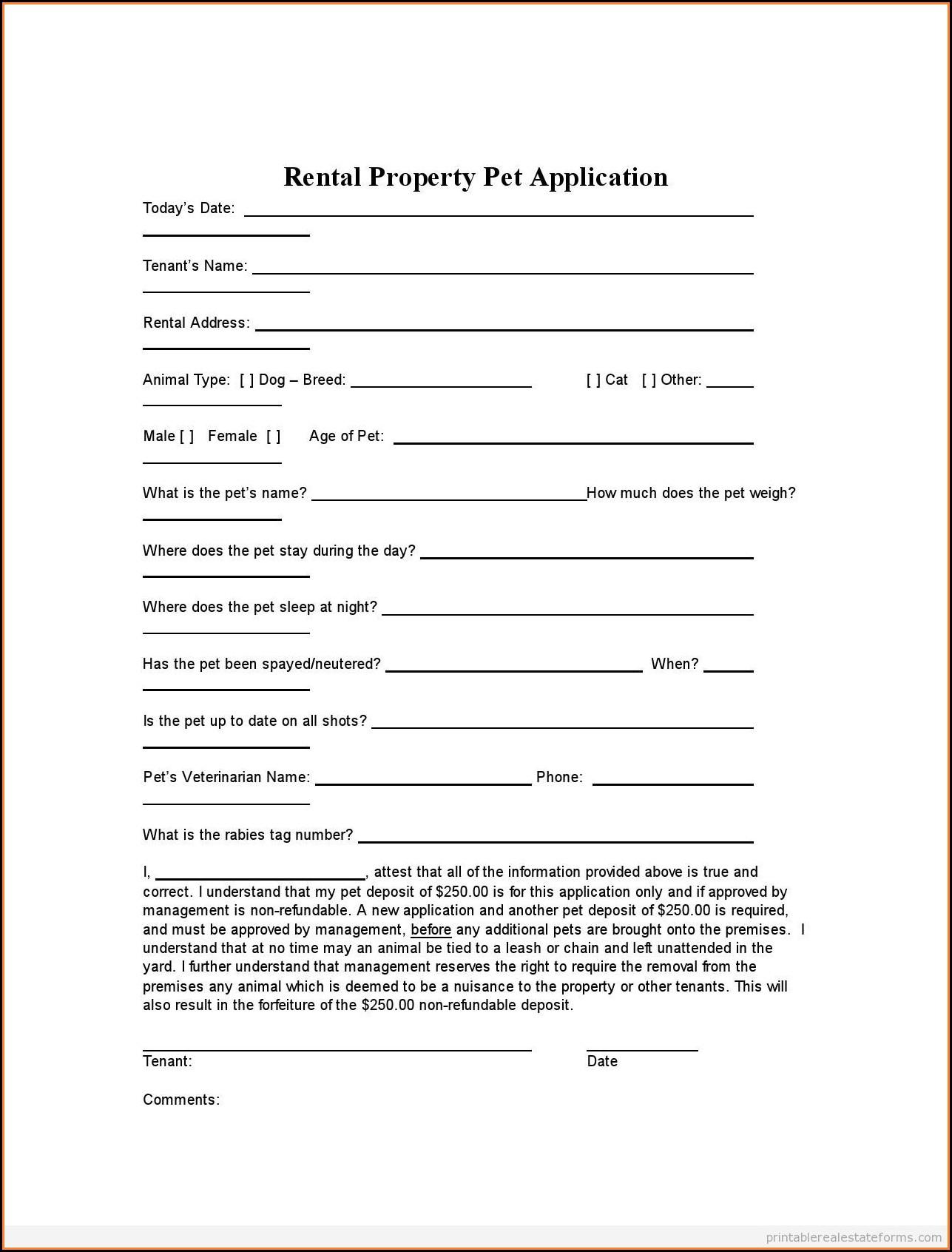Rental Application Forms Free Printable