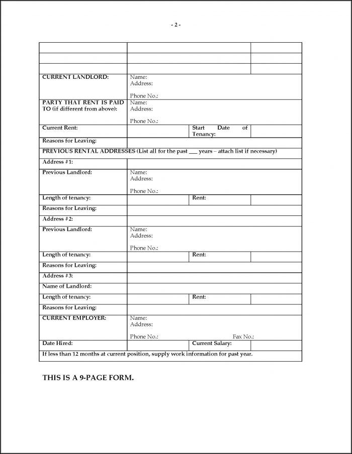 Rental Application Forms Ontario