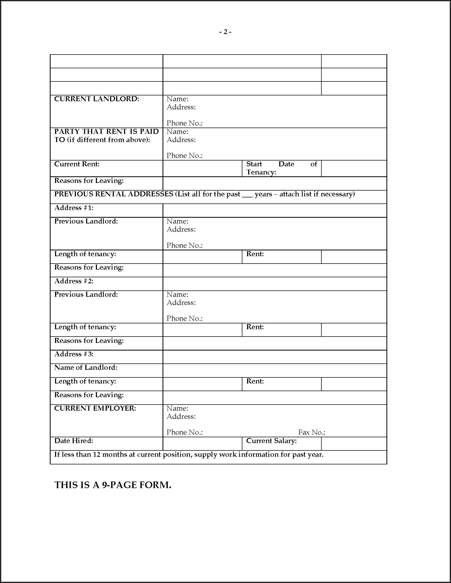 Rental Application Forms Ontario