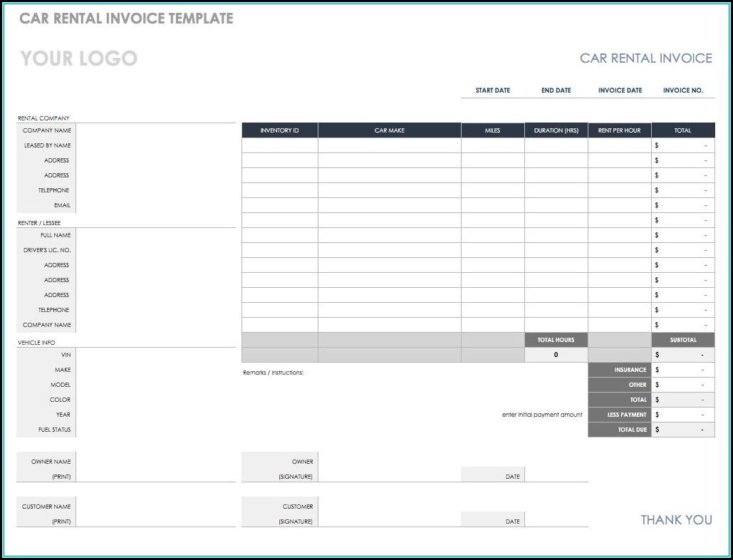 Rental Invoice Template Australia