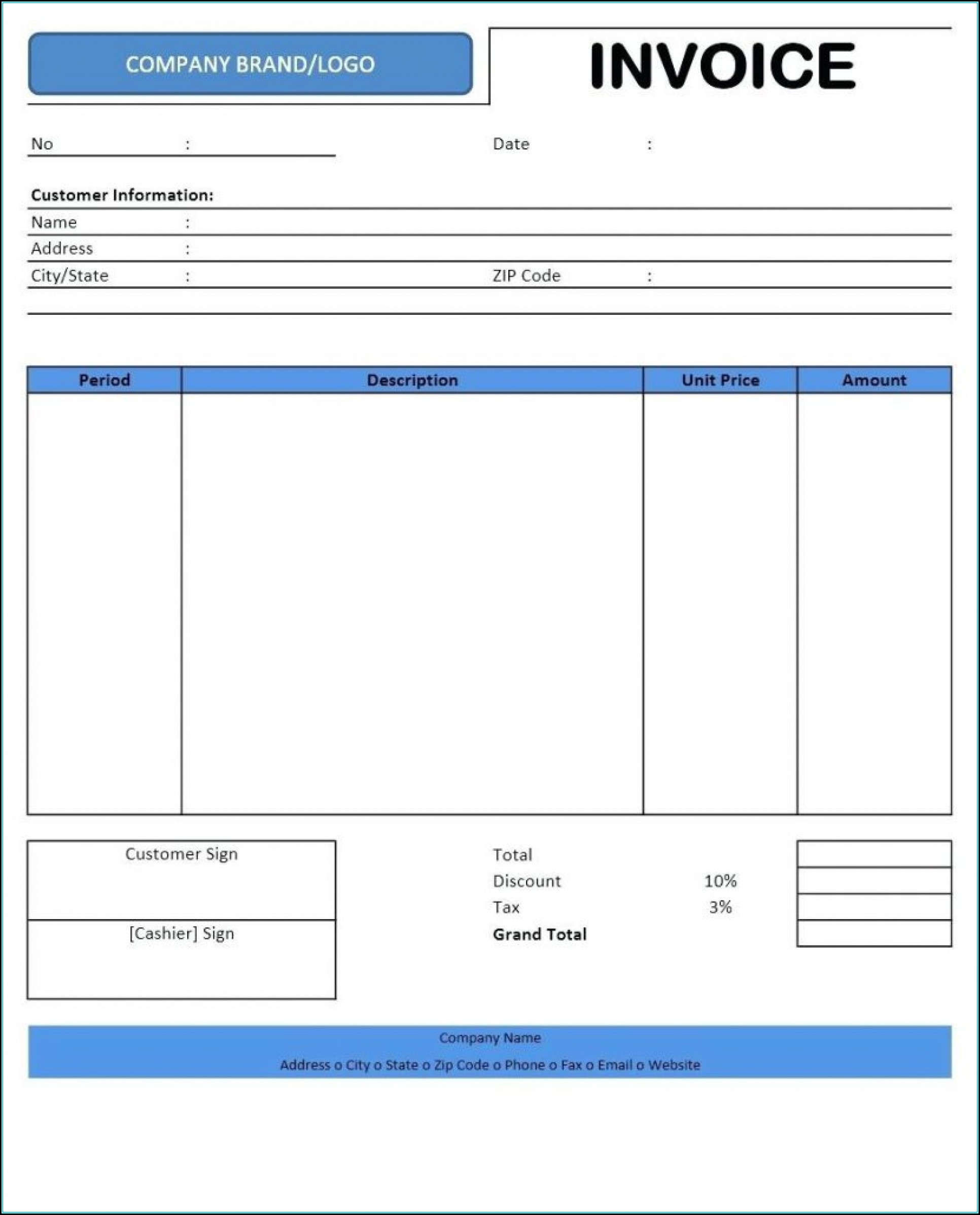 Rental Invoice Template Free