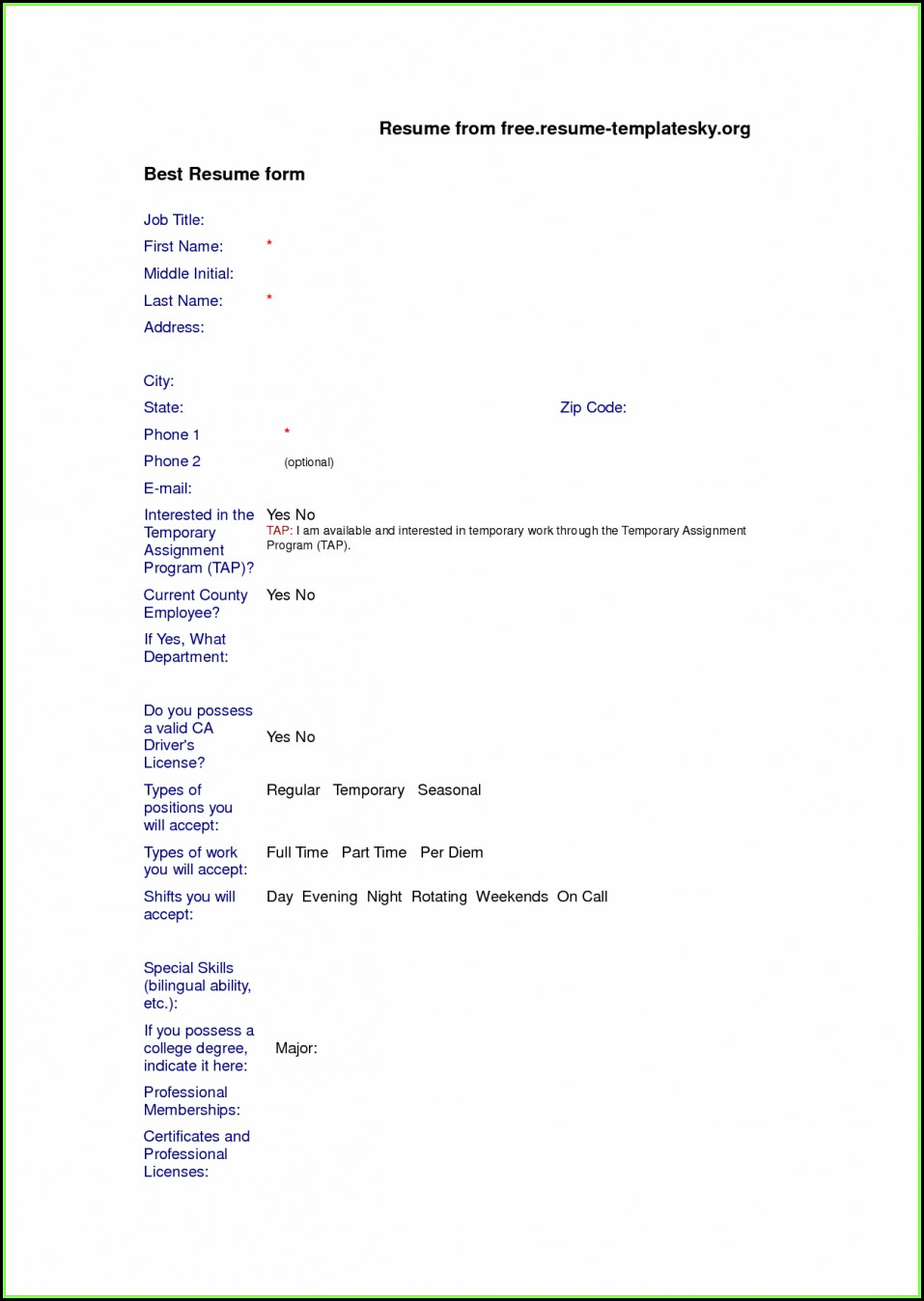 Resume Blank Format Download