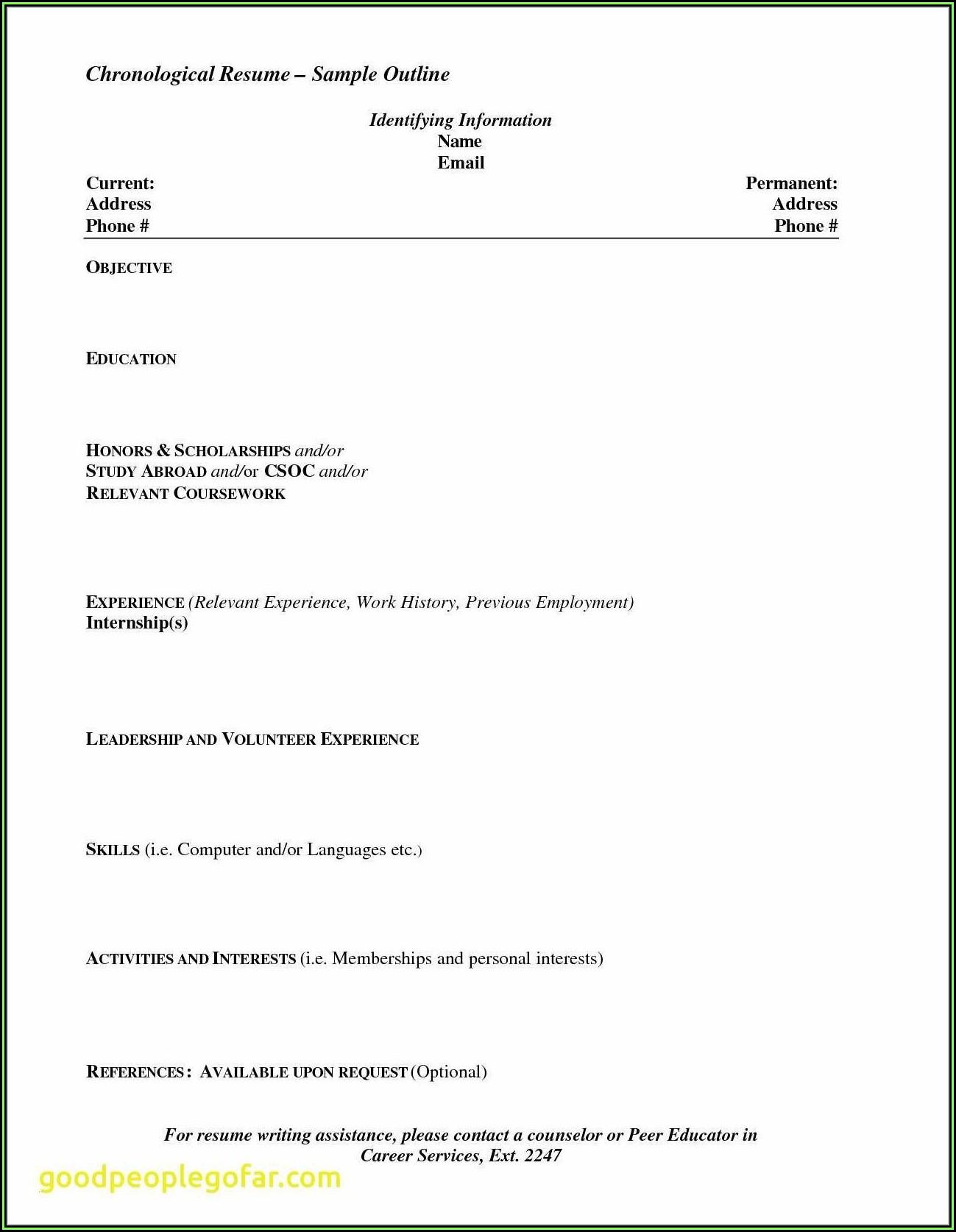 Resume Blank Format For Freshers