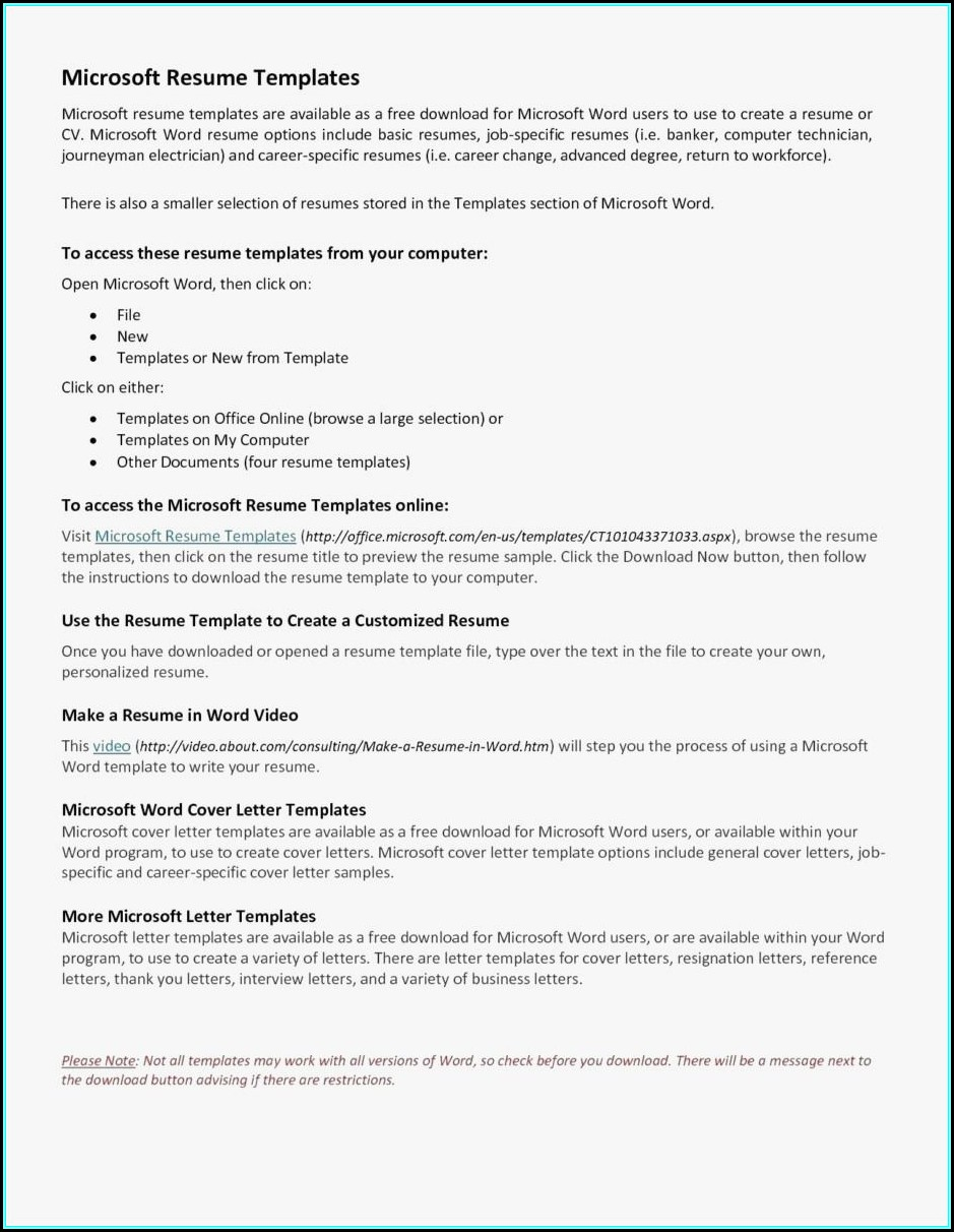 Resume Builder Template Word