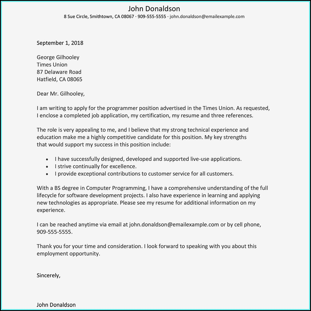 Resume Cover Letters Samples Free