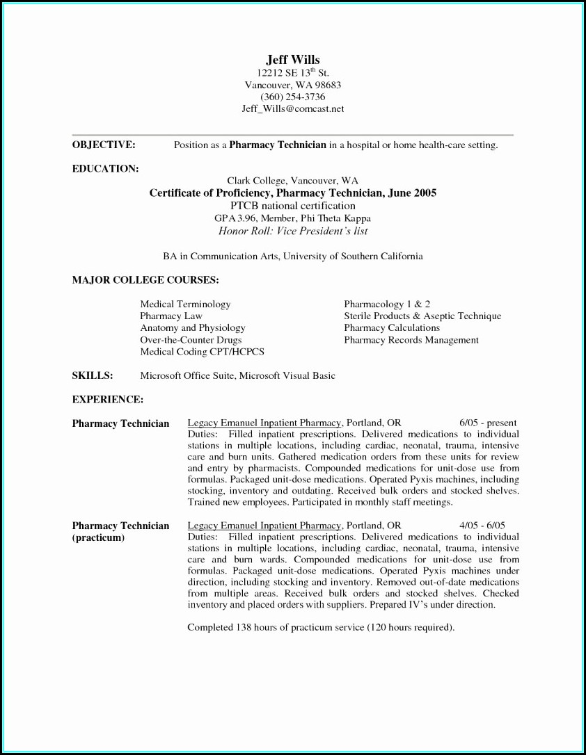 Resume Examples For A Pharmacy Technician