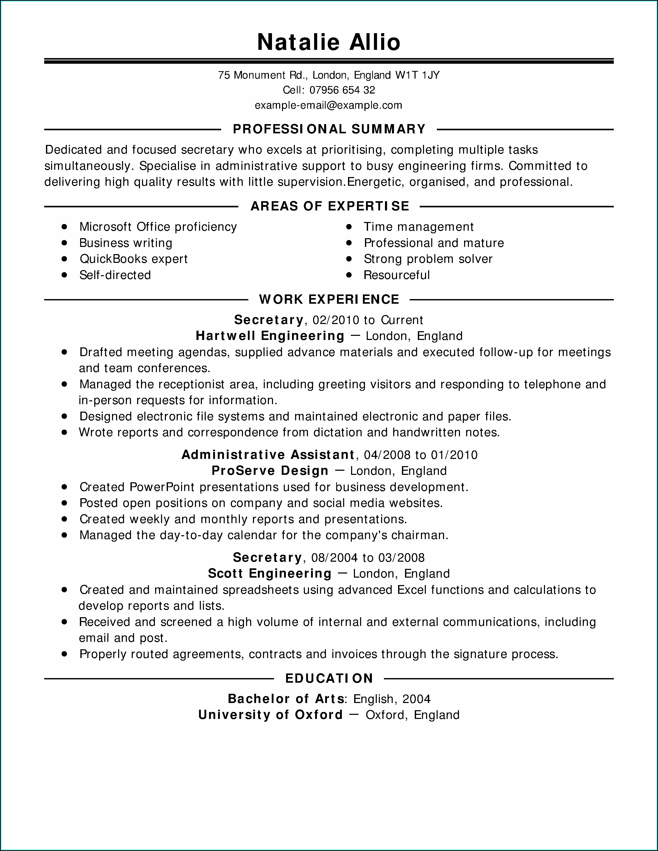Resume Examples For Military To Civilian