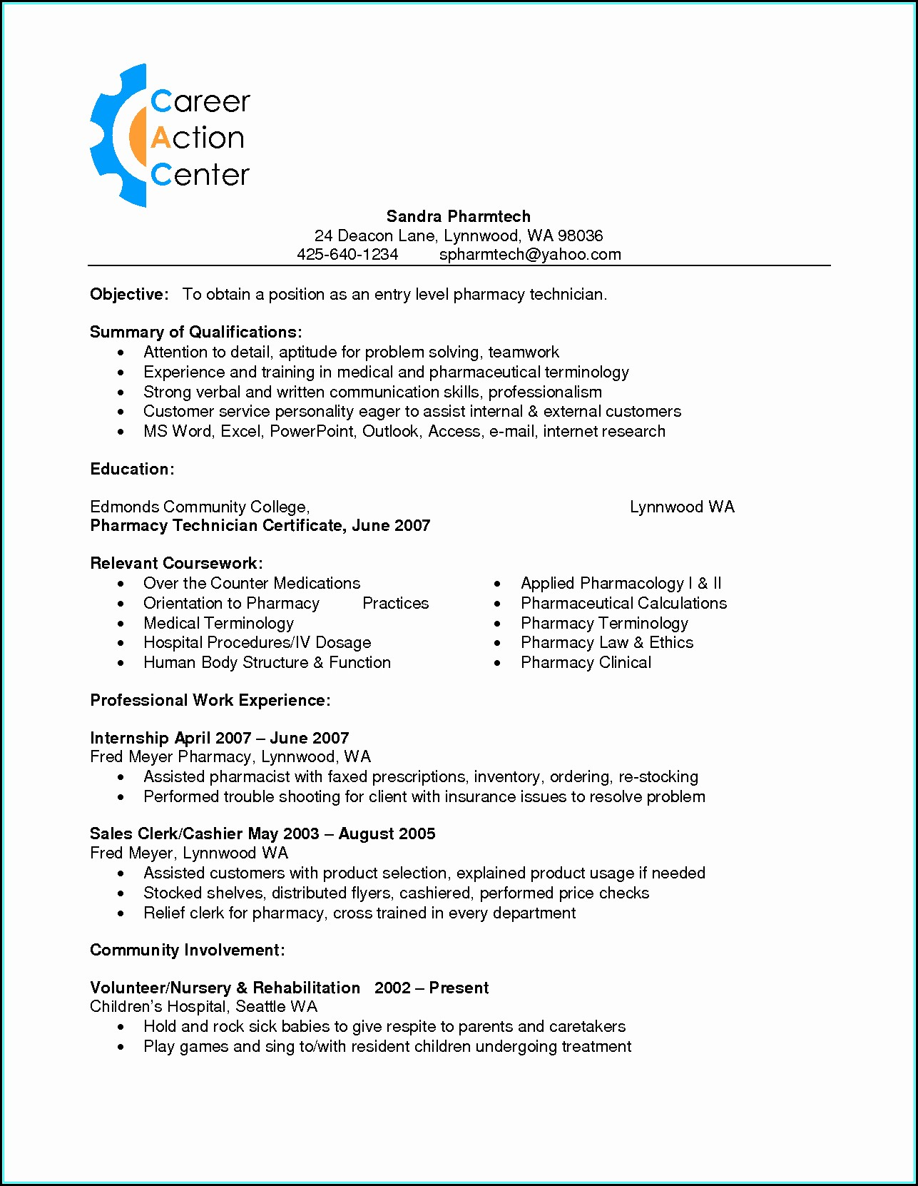 Resume For A Pharmacy Technician With No Experience