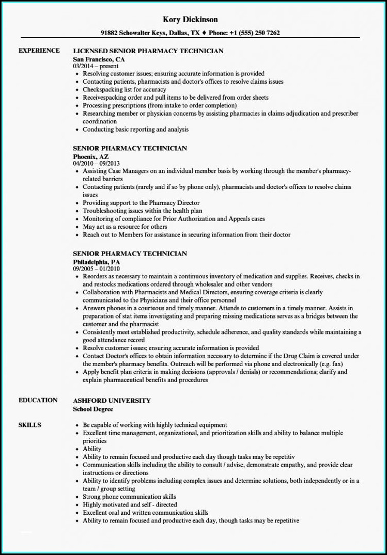 Resume For A Pharmacy Technician